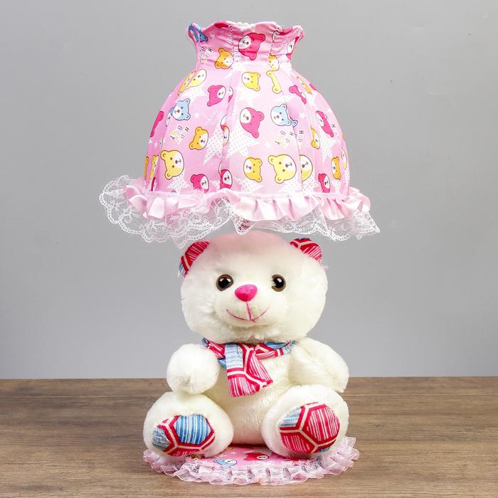 "Лампа настольная ""Мишка с розовым шарфом"" 1х40Вт Е14 белый 37х18х19 см"
