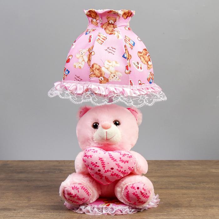 """Лампа настольная """"Мишка с сердцем"""" 1х40Вт Е14 розовый 37х18х19 см"""