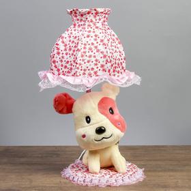 """Лампа настольная """"Собачка с розовым пятном"""" 1х40Вт Е14 бежевый 37х18х19 см"""