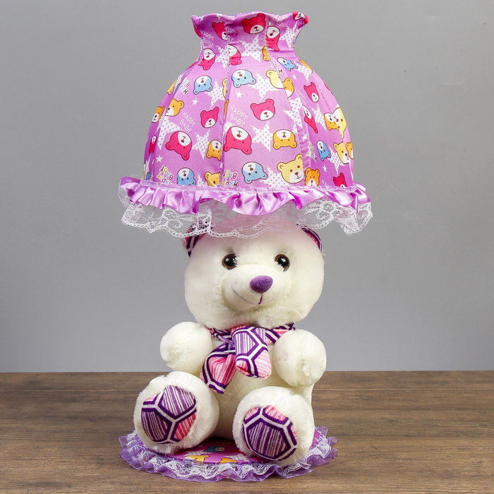 "Лампа настольная ""Мишка с фиолетовым шарфом"" 1х40Вт Е14  белый 37х18х19 см"