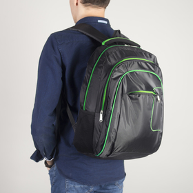 Рюкзак молодёжный, 2 отдела на молниях, наружный карман, 2 боковые сетки, усиленная спинка, цвет чёрный/зелёный