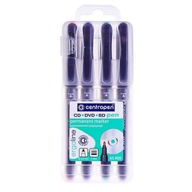 Набор маркеров перманентных для CD/DVD 4 цвета, Centropen 4606, 1.0 мм