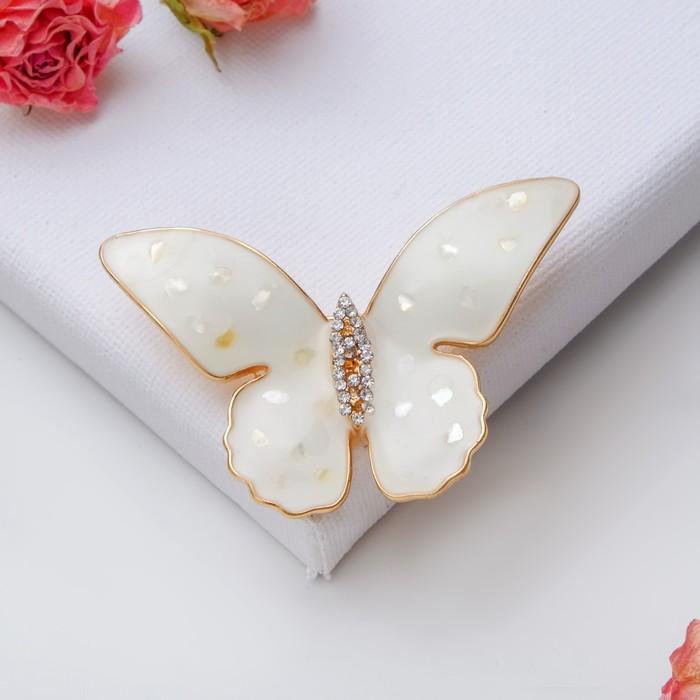 """Брошь """"Бабочка"""" ракушка, цвет кремовый в золоте - фото 274888292"""