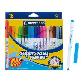 Фломастеры 18 цветов Centropen SUPER EASY 2580, линия 1-3 мм, картонная упаковка с европодвесом