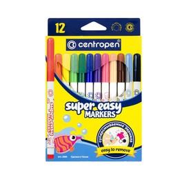 Фломастеры 12 цветов, Centropen 2580/12 SUPER EASY, линия 1-3 мм, картонная упаковка, европодвес
