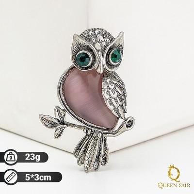 """Brooch """"Owl"""", color purple silver"""
