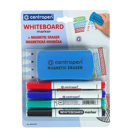 Centropen 8559 marker set for whiteboard, 4 colors, 2.5 mm, blister with euro-suspension