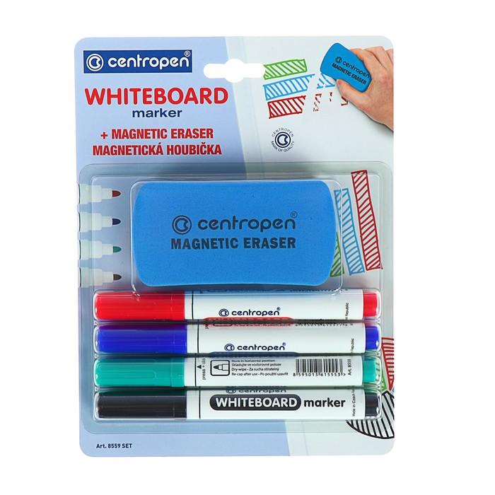 Набор маркеров Centropen 8559 для доски, 4 цвета, 2.5 мм, блистер с европодвесом