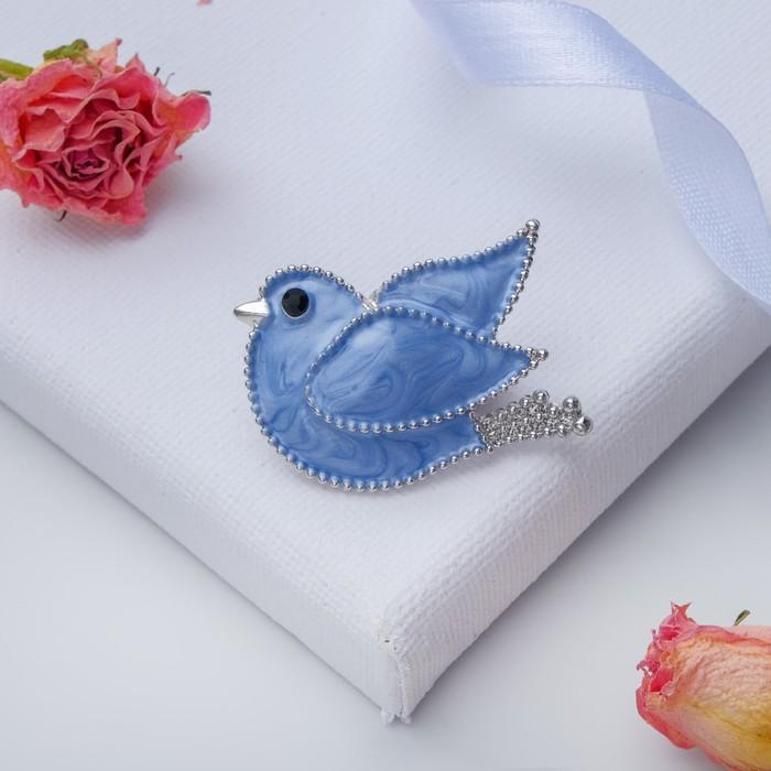 """Брошь """"Голубь"""", цвет голубой в серебре - фото 234152497"""