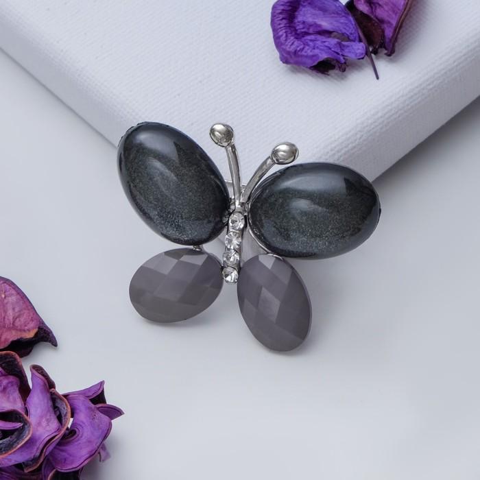 """Брошь """"Бабочка"""" блестящая, цвет серый в серебре - фото 234150343"""