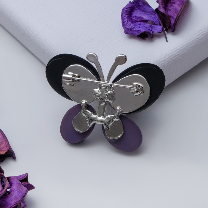 """Брошь """"Бабочка"""" блестящая, цвет серый в серебре - фото 234150344"""