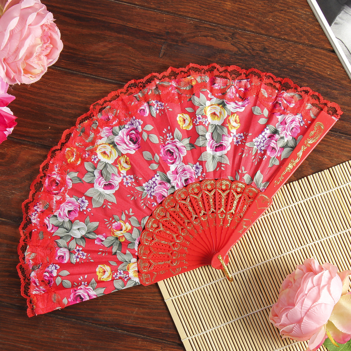 "Fan plastic, textile ""Roses and lace"" MIX 22.5 cm"