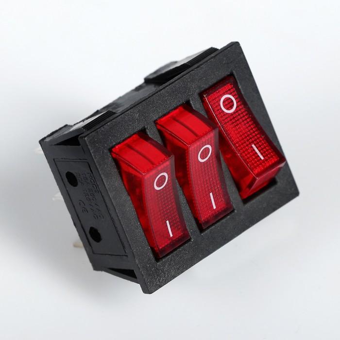 Выключатель трехклавишный с подсветкой, красный