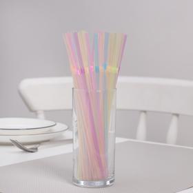 Трубочки одноразовые для коктейлей неоновые Komfi, 5×21 см, с гофрой, 100 шт/уп