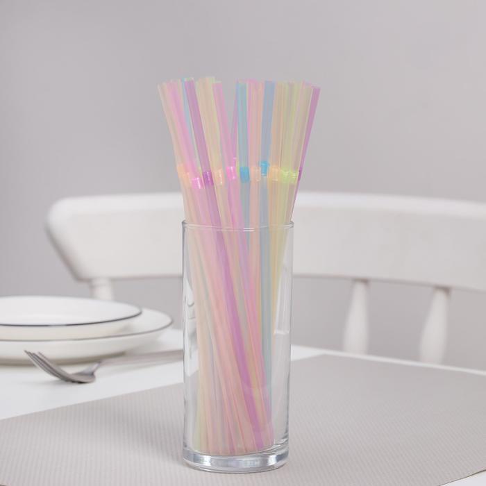Трубочки для коктейлей неоновые Komfi, 5×21см, с гофрой, 100 шт/уп - фото 308013055
