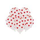 """Шар латексный 12"""" «Красные сердечки», кристалл, 5-сторонний, набор 50 шт., прозрачный - фото 308469688"""