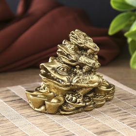 "Netsukes Polyresin bronze ""Three toads - pyramid"" 7x8,8x6,3 cm"