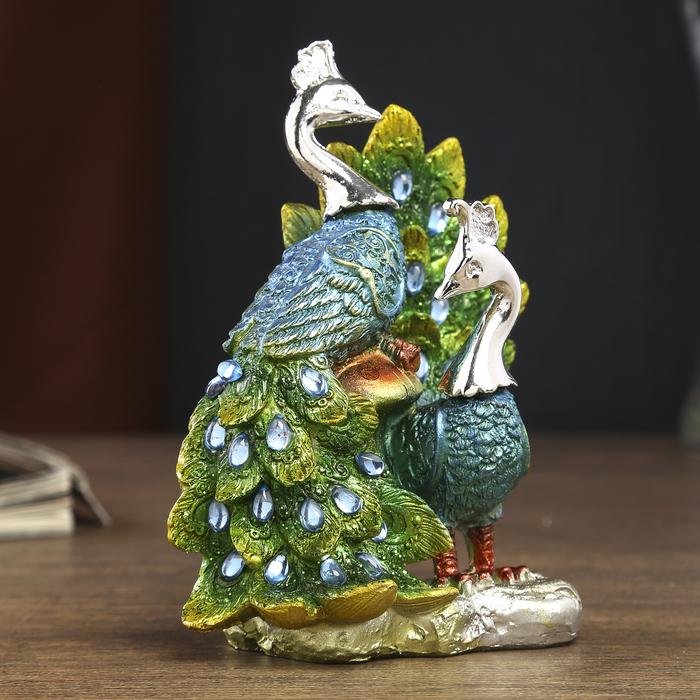 """Сувенир полистоун """"Зелёные павлины с грибом"""" стразы 13,5х10,5х7 см"""