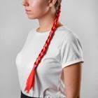 Коса на резинке 42 см, цвет красный