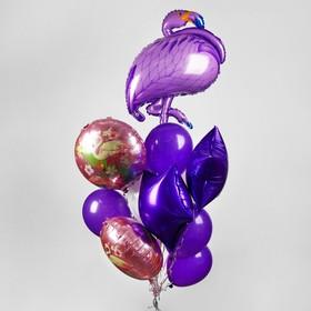"""Букет из шаров """"Фламинго"""", фольга, латекс, набор 16 шт, цвет фиолетовый"""