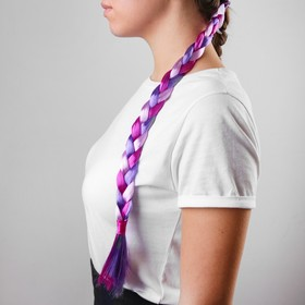 Коса на резинке, 42 см, цвет фиолетовый в Донецке