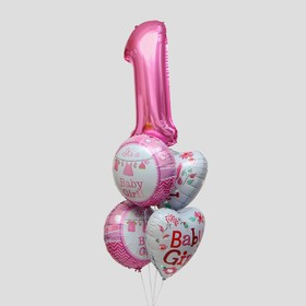 "A bouquet of balloons ""First birthday baby"", foil, set of 5 PCs"