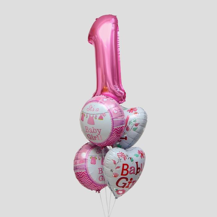 """Букет из шаров """"Первый день рождения малышки"""", фольга, набор 5 шт. - фото 308472985"""