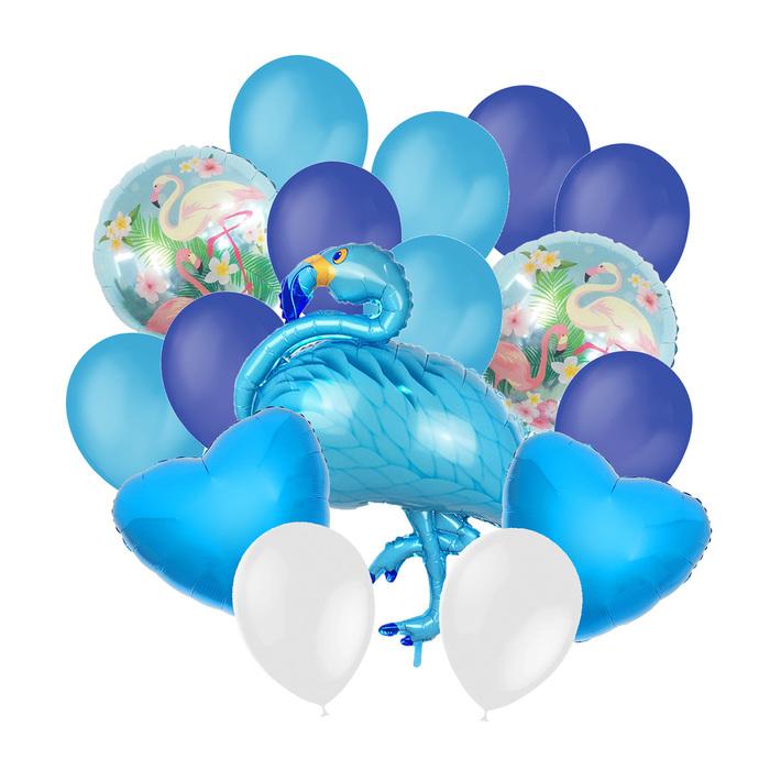 Букет из шаров «Фламинго», фольга, латекс, набор 16 шт., цвет голубой