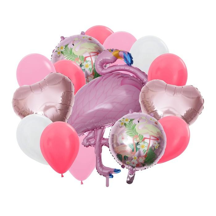 """Букет из шаров """"Фламинго"""", фольга, латекс, набор 16 шт, цвет розовый"""