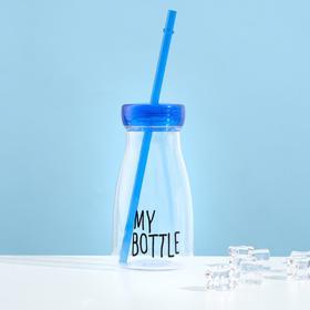 "Бутылка для воды ""My bottle"", 400 мл, с трубочкой, спортивная, прозрачная, микс, 7х14.5 см в Донецке"