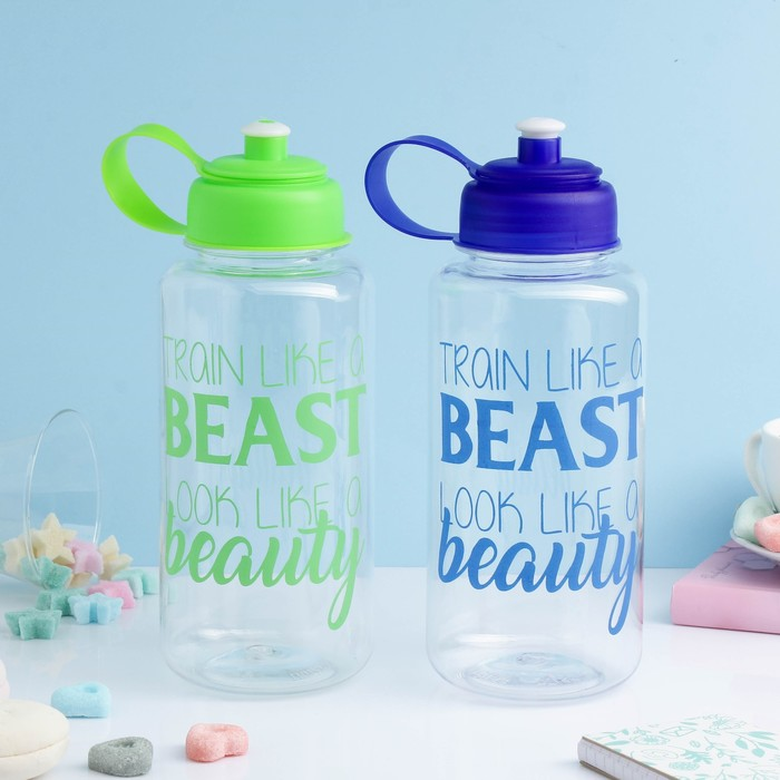 "Бутылка для воды ""Train like a beast look like a beauty"", 1200 мл, поильник, микс, 9х23 см"