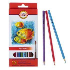 """Карандаши акварельные 12 цветов 3.0 мм, Koh-I-Noor """"Рыбки"""" 3716, картонная коробка, L=175 мм - фото 7243102"""