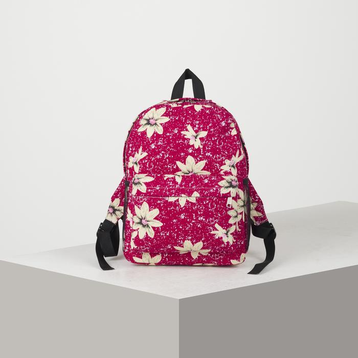 Рюкзак молодёжный, отдел на молнии, наружный карман, 2 боковые сетки, цвет малиновый