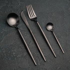 Набор столовых приборов, Magistro «Фолк», 4 предмета, черный
