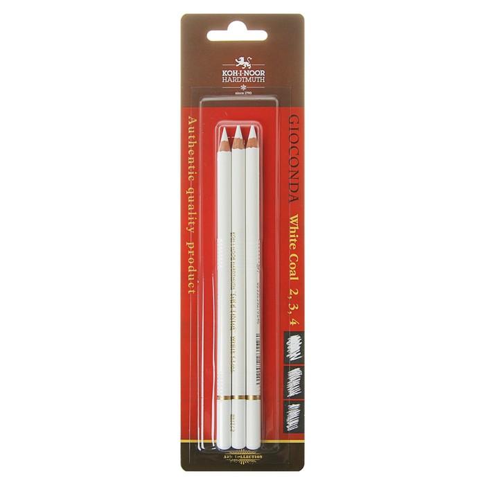 Уголь белый в карандаше K-I-N GIOCONDA 8812, набор разных твёрдостей № 2, 3, 4