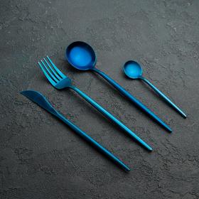 Набор столовых приборов, Magistro «Фолк», 4 предмета, синий