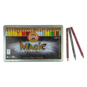 Карандаши 24 цвета Koh-I-Noor 3408 Magic + карандаш-блендер, в металлическом пенале