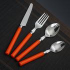 """Набор столовых приборов """"Стиль"""", 4 предмета, толщина 1 мм, цвет оранжевый"""