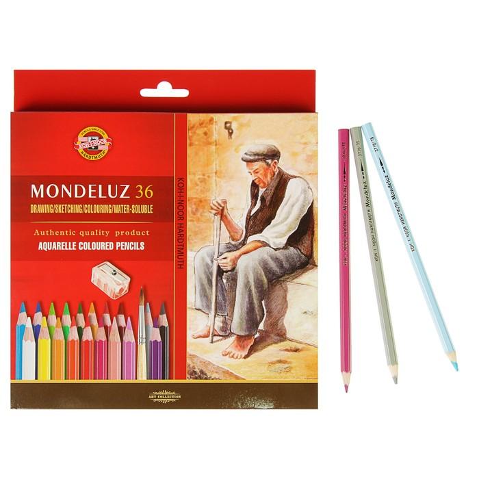 Карандаши акварельные набор 36 цветов, Koh-I-Noor Mondeluz 3712 + точилка + кисть 2 штуки - фото 719953