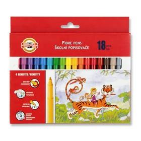 Фломастеры 18 цветов Koh-I-Noor 1002/18 смываемые, трёхгранные, картонная упаковка, европодвес