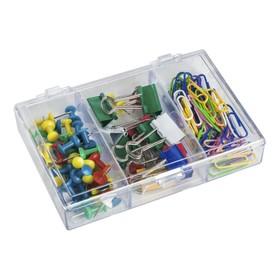 Набор канцелярский из 3-х предметов (скрепки 28 мм цветные - 50 шт., зажимы для бумаг 19 мм цветные - 10 шт., кнопки силовые цветные - 40 шт.)