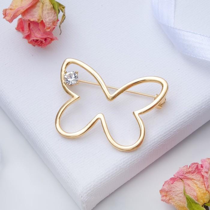"""Брошь """"Бабочка"""" контур, цвет белый в золоте - фото 234153364"""