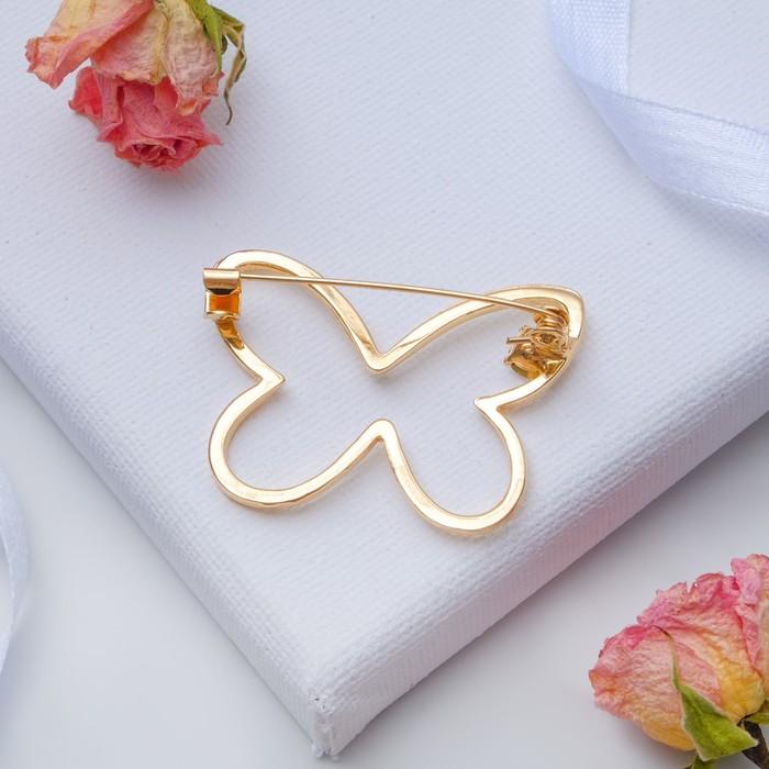 """Брошь """"Бабочка"""" контур, цвет белый в золоте - фото 234153365"""