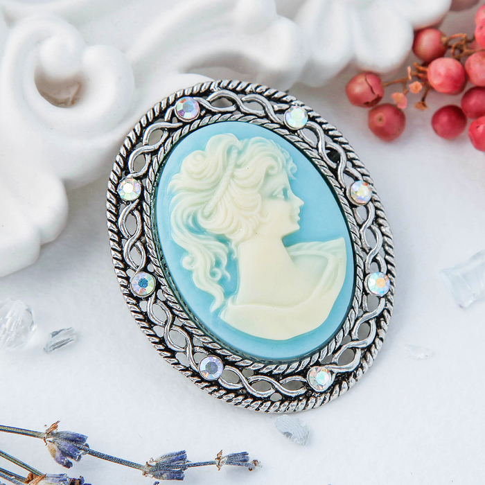 """Брошь """"Камея"""" профиль, цвет бело-голубой в черненом серебре - фото 274886017"""