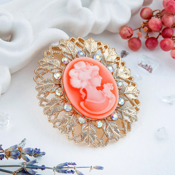 """Брошь """"Камея"""" осень, цвет розовый в золоте - фото 234150347"""