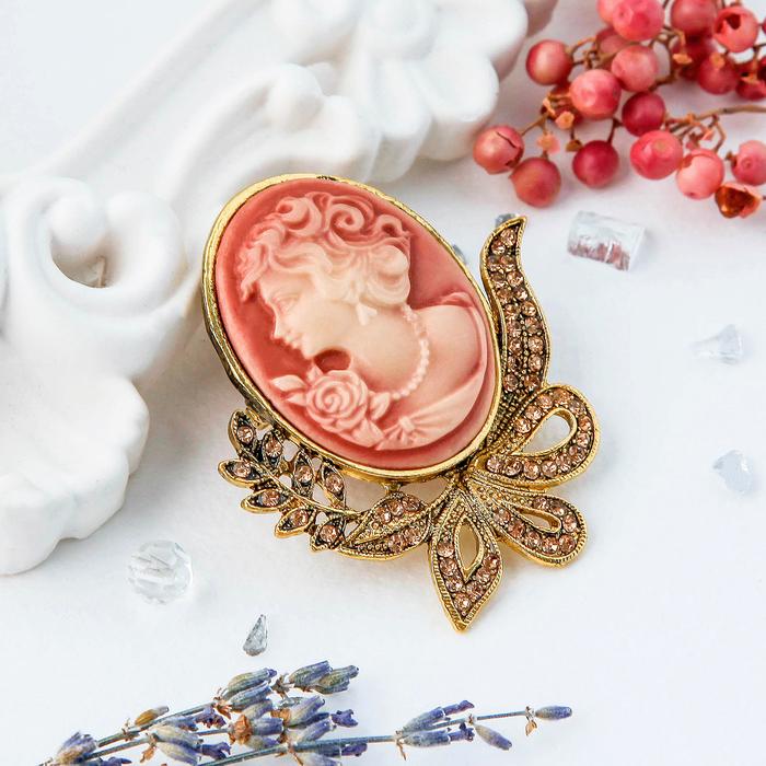 """Брошь """"Камея"""" лавра, цвет розовый в черненом золоте"""