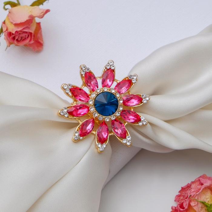"""Кольцо для платка """"Цветок"""", цветное в золоте - фото 234156029"""