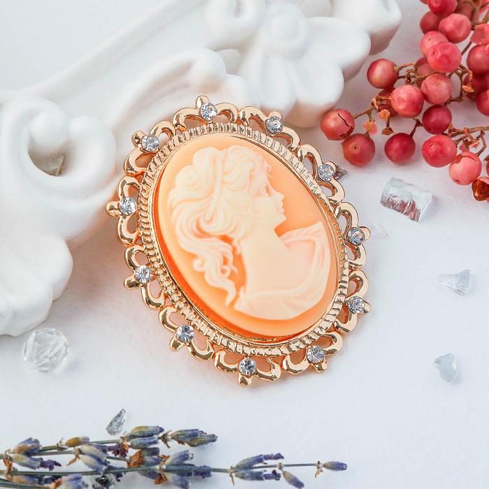 """Брошь """"Камея"""" принцесса, цвет оранжевый в золоте"""