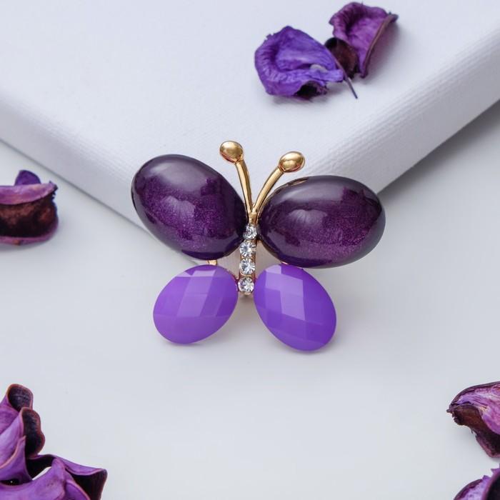 """Брошь """"Бабочка"""" блестящая, цвет фиолетовый в золоте - фото 446183803"""