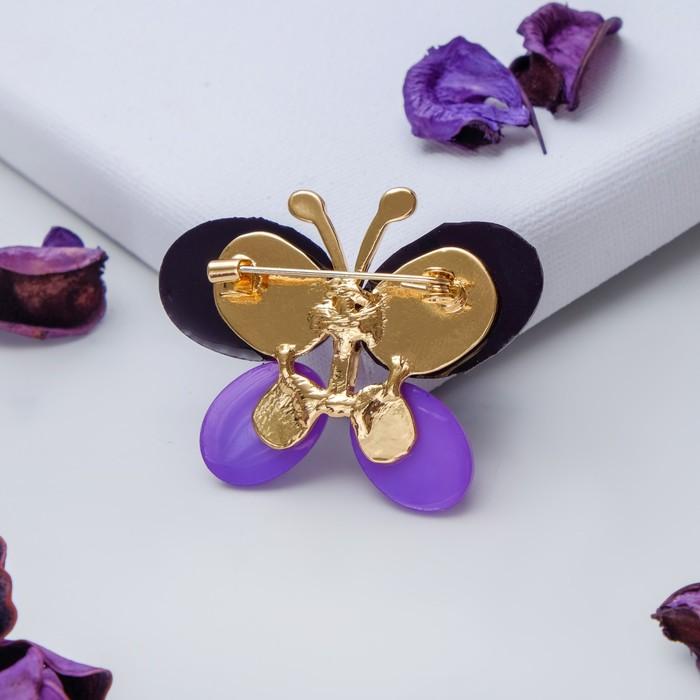 """Брошь """"Бабочка"""" блестящая, цвет фиолетовый в золоте - фото 446183804"""